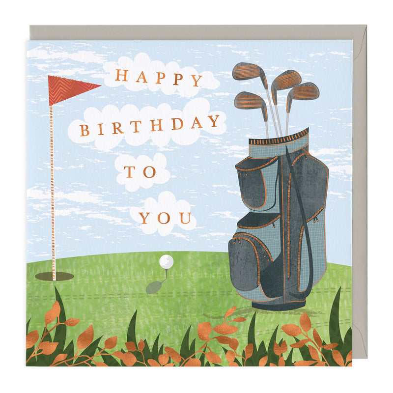 Golfing Happy Birthday Card