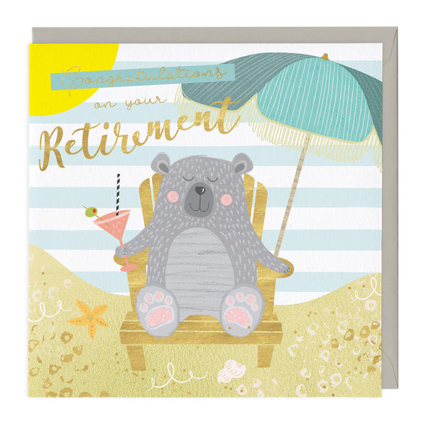 Relaxing Bear Retirement Card