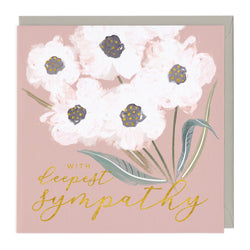 White Flowers Deepest Sympathy Card
