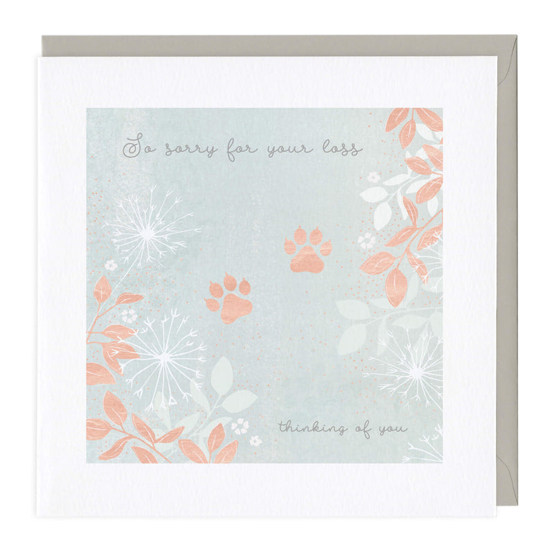 Cat Paw Print Sympathy Card