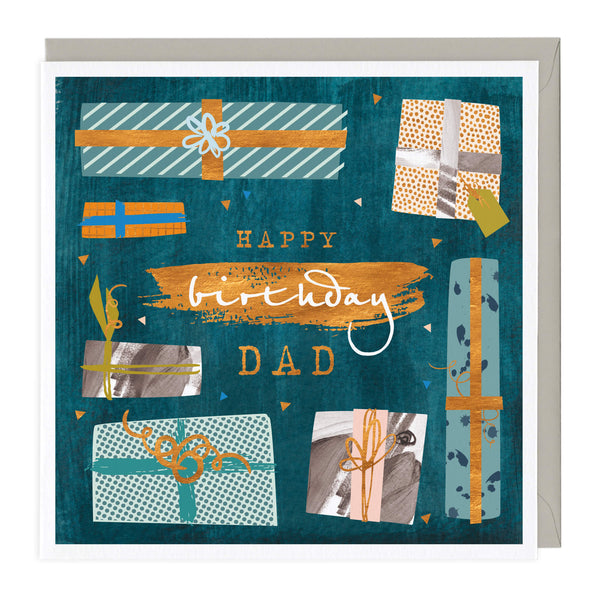 Patterned Presents Dad Birthday Card