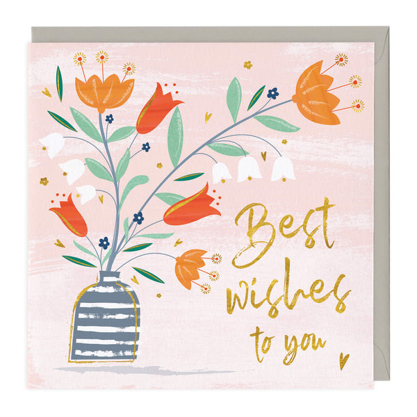 Pretty Flowers Best Wishes Card