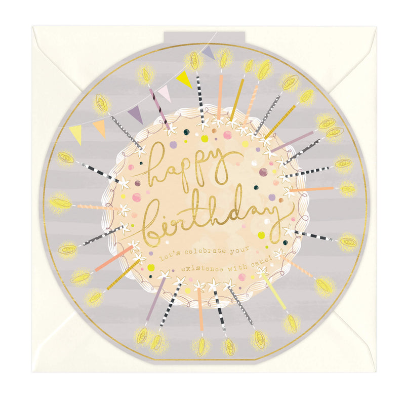 Circular Candles Round Birthday Card
