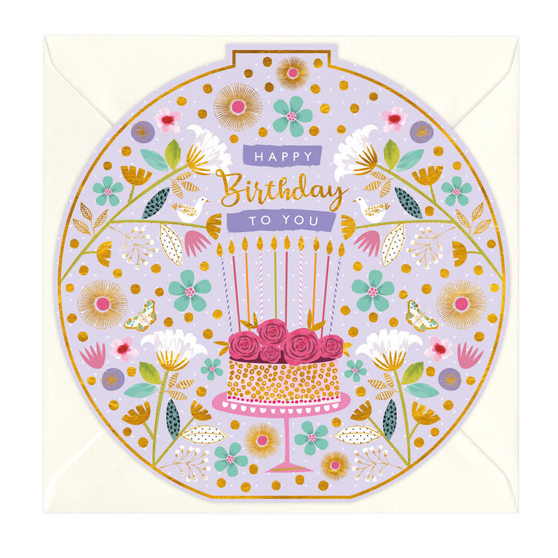 Rose Cake Round Birthday Card
