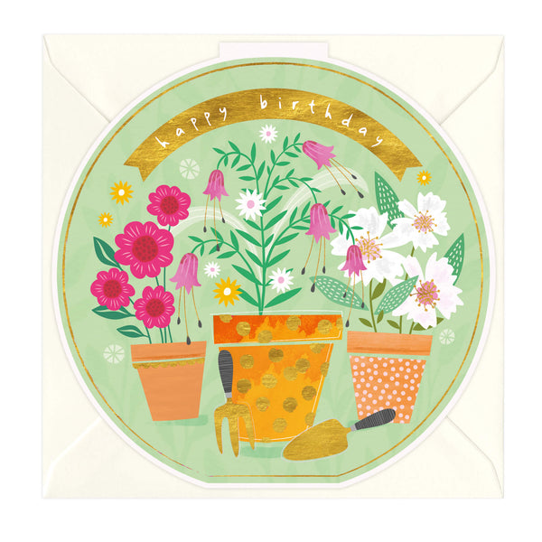 Potted Flowers Round Birthday Card