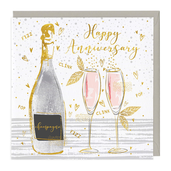 Clink Fizz Champagne Happy Anniversary Card