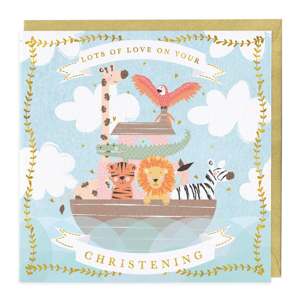 Animal Boat Christening Card