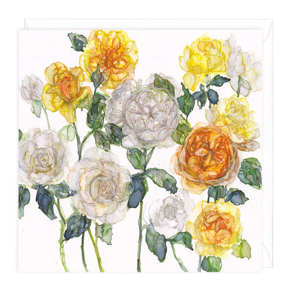Yellow Roses Floral Art Card
