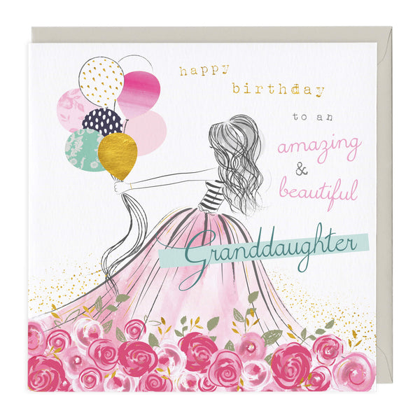 Rose Dress Granddaughter Birthday Card