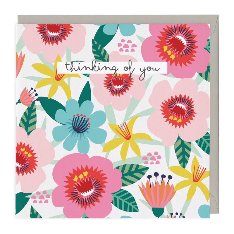 Vibrant Flowers Thinking Of You Card