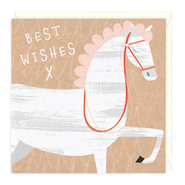 White Beauty Best Wishes Equine Card