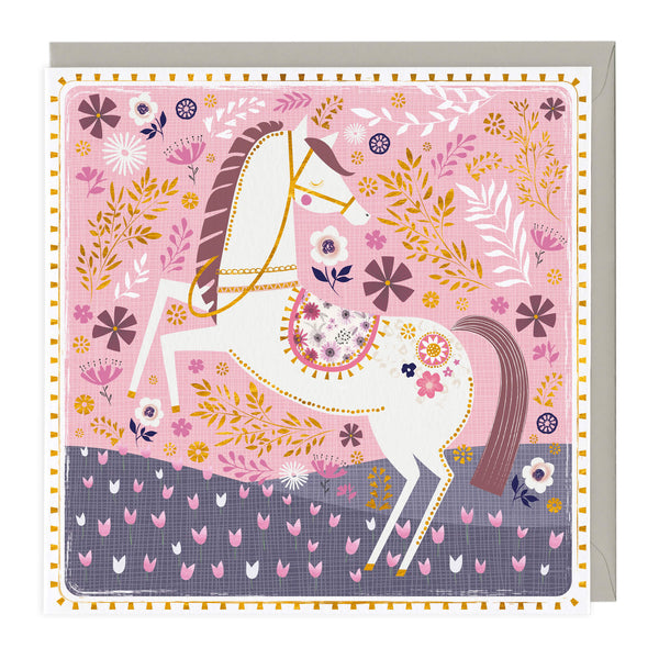 White Beauty Floral Horse Card