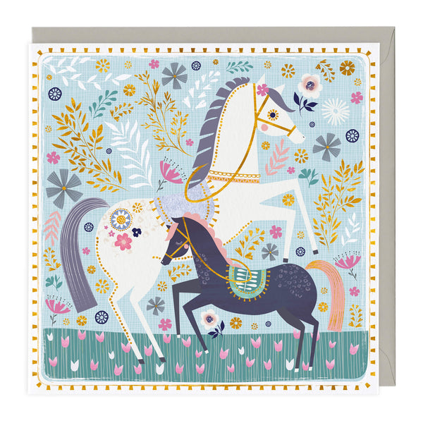 Colourful Floral Horses Card