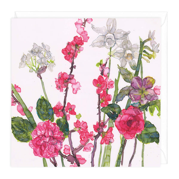 Spring Flowers and Camelia Art Card