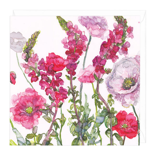 Snapdragon and Poppies Art Card
