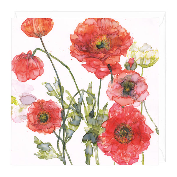 Peach and Orange Poppies Art Card