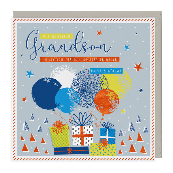 Balloons & Presents Grandson Birthday Card