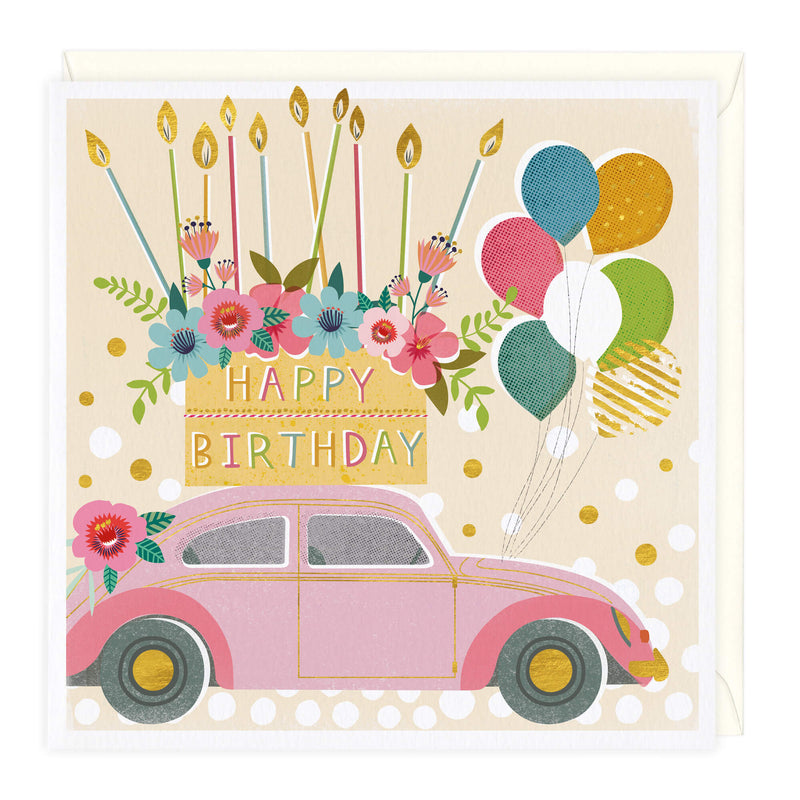 Beetle, Card & Balloons Birthday Card