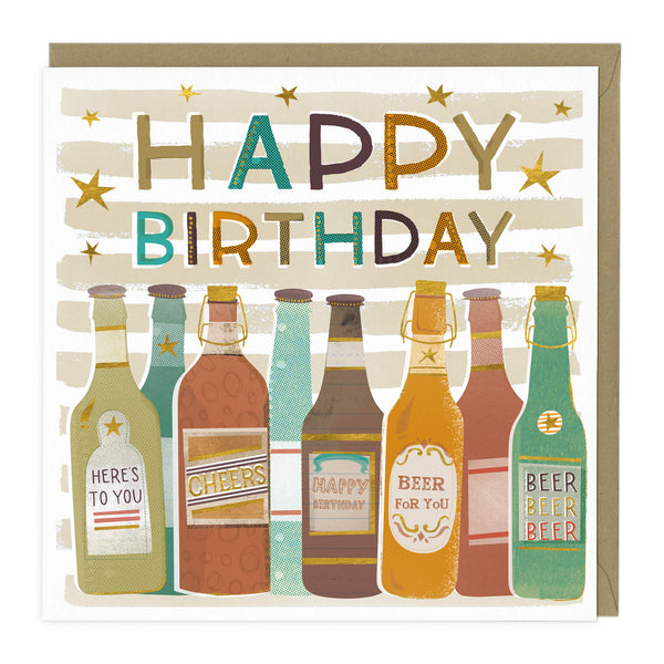 Retro Beers Birthday Card