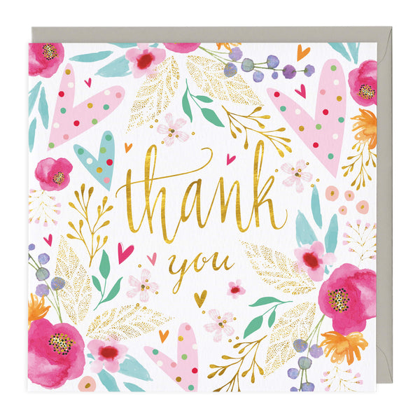 Hearts & Flowers Thank You Card