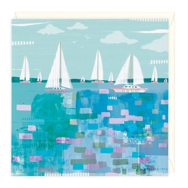 Sailing Boats Blue Art Card