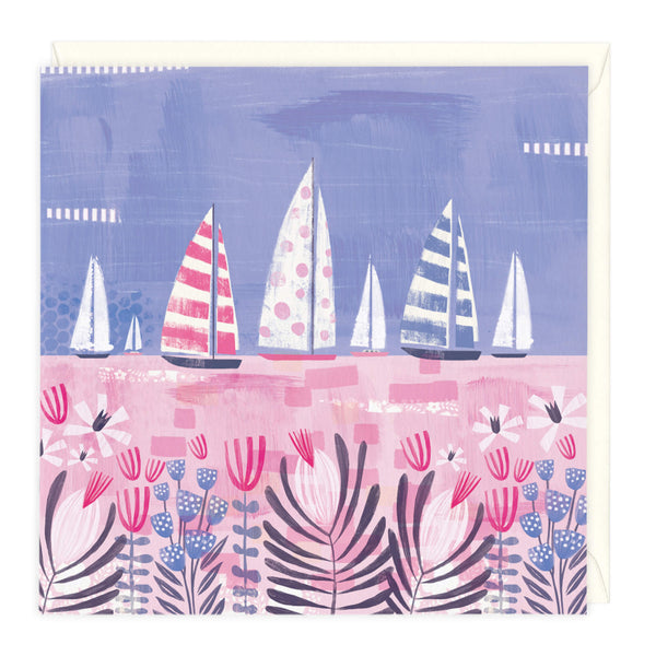 Sailing Boats Pink Art Card