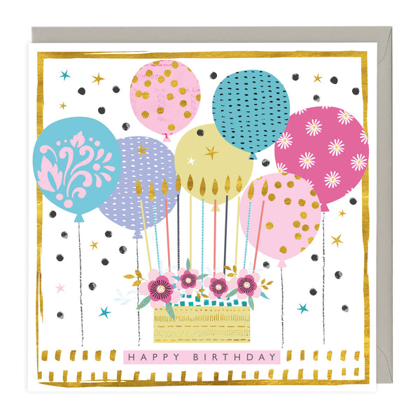 Happy Birthday Cake 'n' Balloons Card