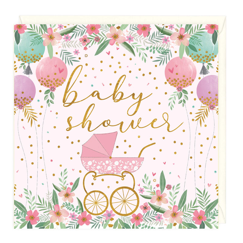 Pretty Pram Baby Shower Card