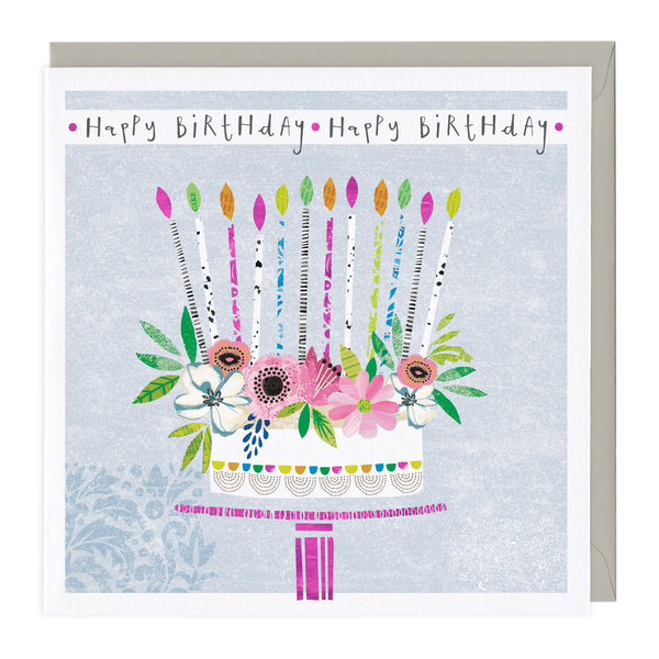 Colourful Floral Cake Birthday Card