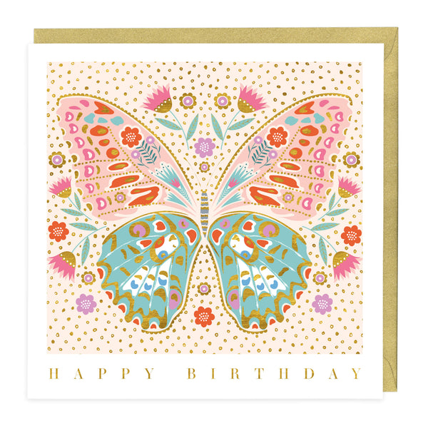 Floral & Gold Butterfly Birthday Card