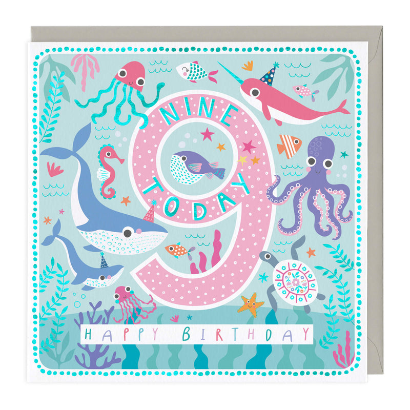 9 Today Sea Life Children's Birthday Card