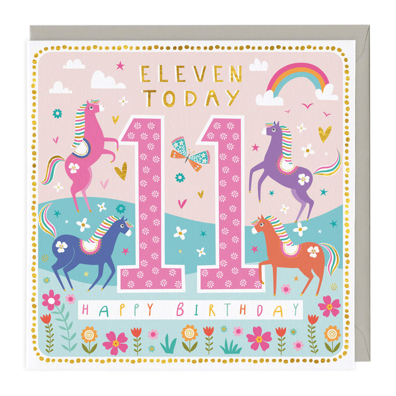 11 Today Colourful Horses Children's Birthday Card