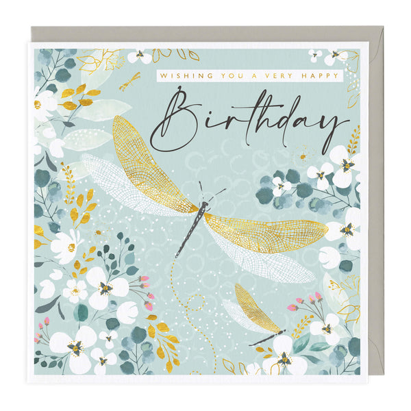 Golden Dragonfly Birthday Card