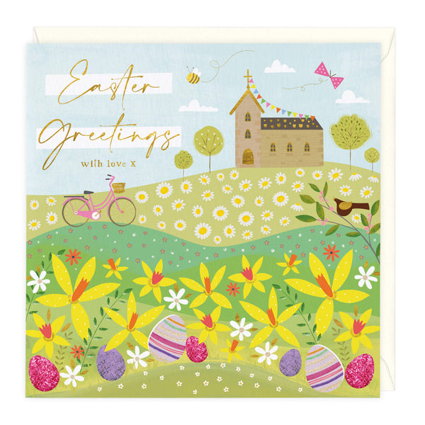 Church In Spring Easter Card
