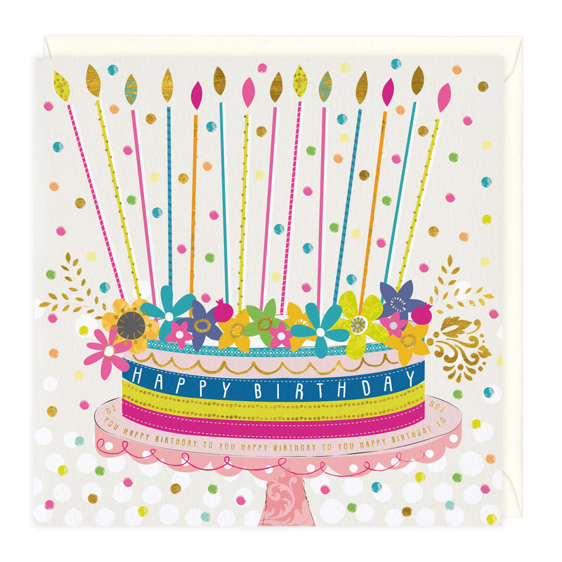 Colourful Cake and Candles Birthday Card