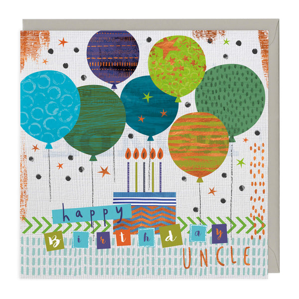 Colourful Balloons Uncle Birthday Card