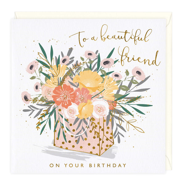 Flower Bag Beautiful Friend Birthday Card