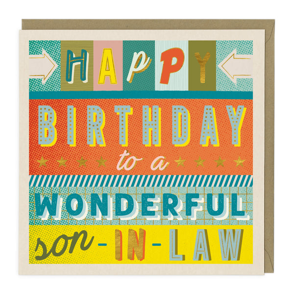 Colourful Typography Son-In-Law Birthday Card