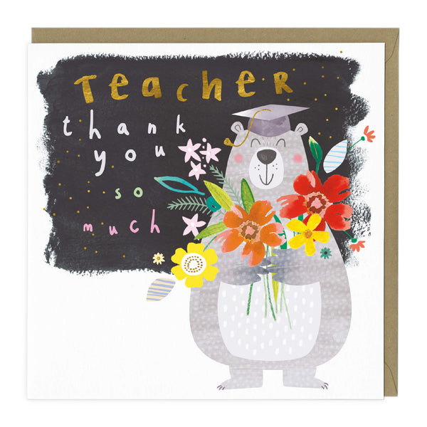 Teacher Bear Thank You Card