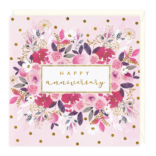 Pink Bouquet Happy Anniversary Card