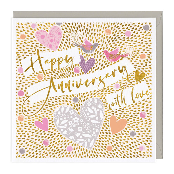 Golden Hearts Happy Anniversary Card