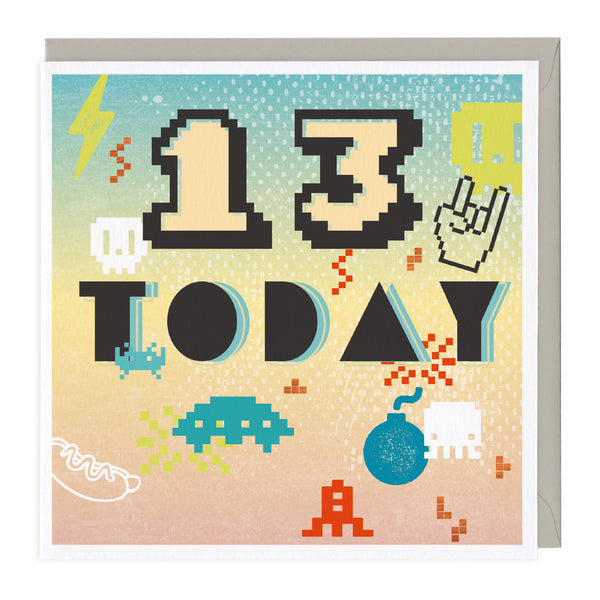 Space Invader 13 Today Birthday Card