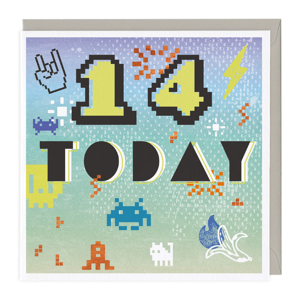 Space Invader 14 Today Birthday Card