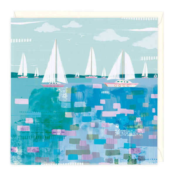 Colourful Abstract Boats Art Card