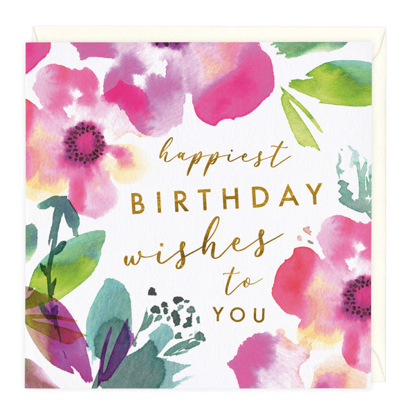 Pink Blooms Happiest Birthday Card