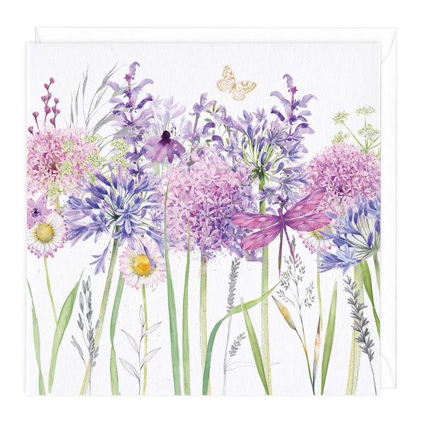 Agapanthus and Allium Meadow Flowers Art Card