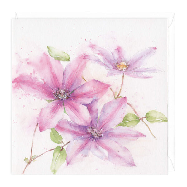 Clematis Floral Art Card