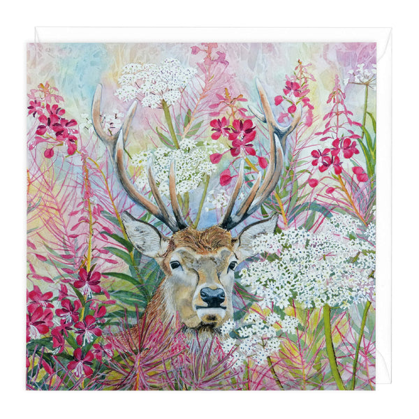 Rosebay Stag Art Card