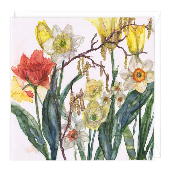 Daffodils and Catkins Floral Art Card