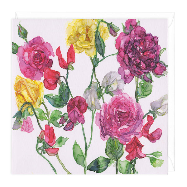 Mixed Roses and Sweet Peas Floral Art Card